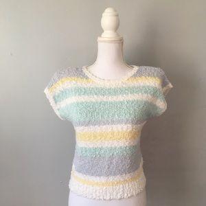 Vintage Pastel Fuzzy Stripe Sweater Tee Fairy Kei